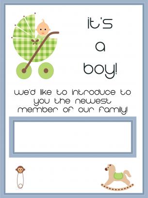 its a boy printables its a boy baby card