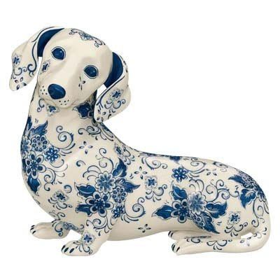 Russian Folk Art Gzhel Dachshund Dog Dachshund Dog Figurines