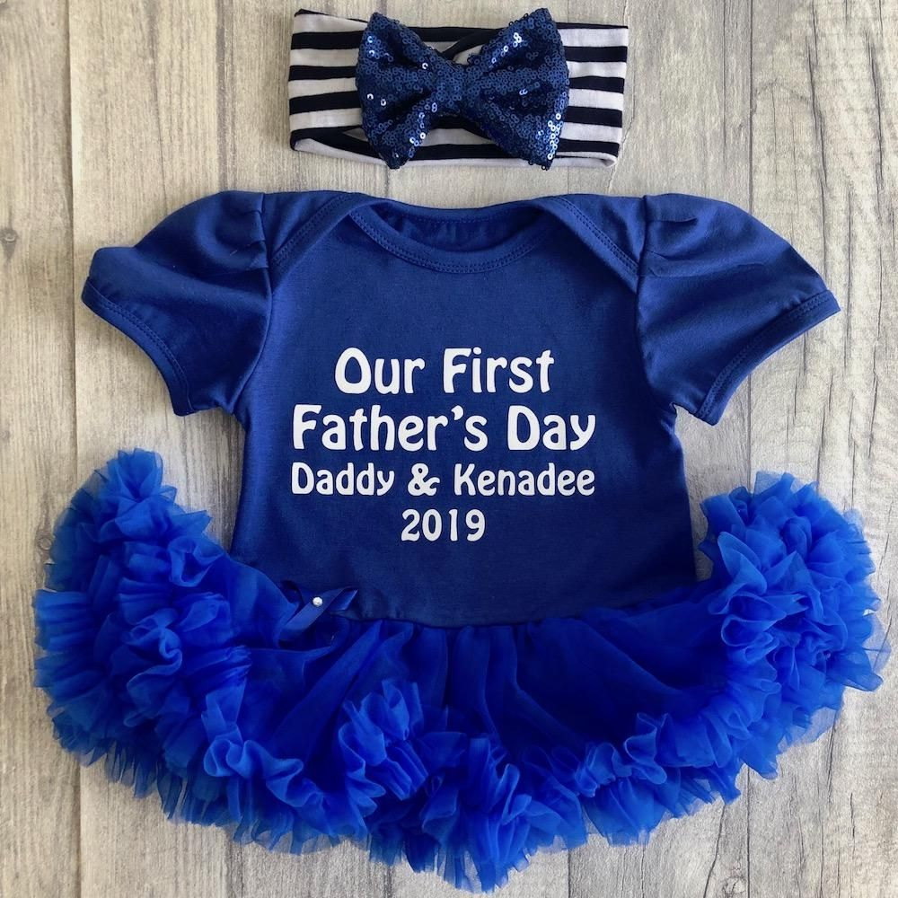 PERSONALISED 1ST FATHER/'S DAY Tutu Romper Pink Glitter Daddy /& Daughter Love