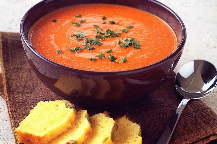 Capsicum soup with olive cornbread