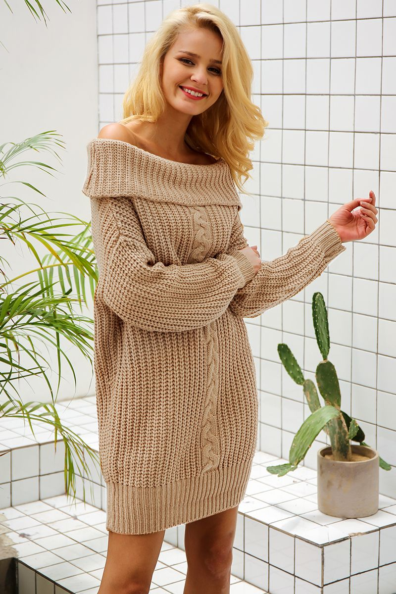 a740351a4f5a41  41.56 - Cool Simplee One shoulder sexy winter dress women Knitted loose  oversized jumper winter dress 2017 Autumn new casual pullover - Buy it Now!