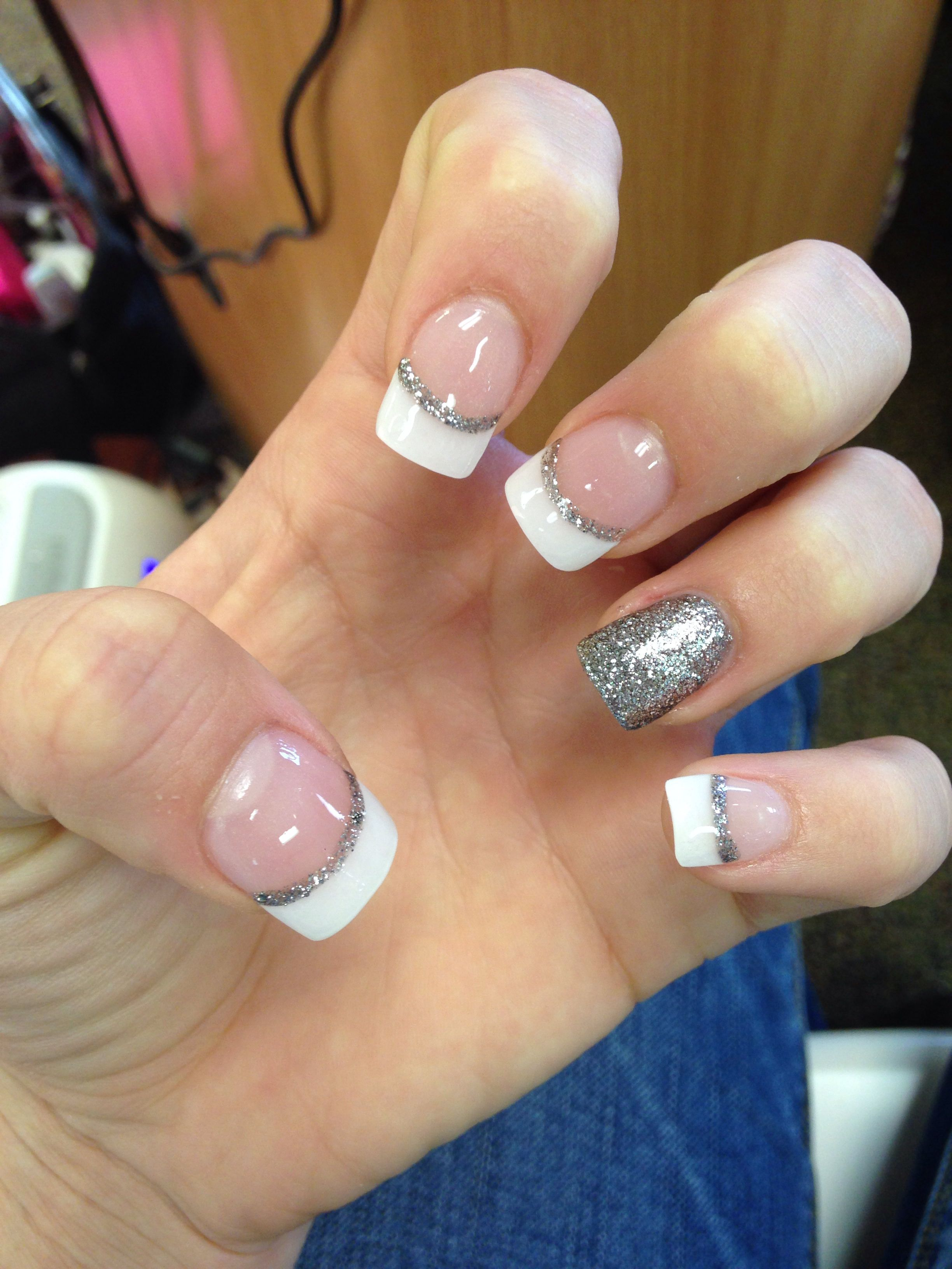 Simple French Tip With Silver Glitter Nails Pinterest Ring