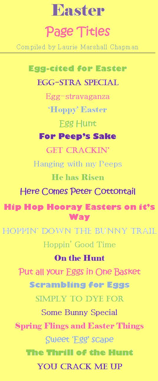 Easter Scrapbook Page Titles | Easter Eggstravaganza | Pinterest ...
