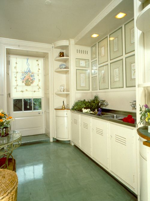 1940's kitchen. Not crazy about the green floor (reminds