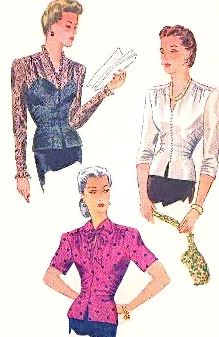 1940s Stunning Fitted OverBlouse Pattern Simplicity 1120 Three Beautiful Day or Evening Blouse Styles Lace Version Included Also Film Noir Keyhole Design Bust 38 Vintage Sewing Pattern FACTORY FOLDED