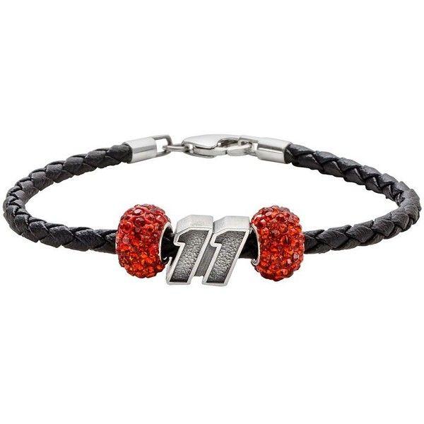 Insignia Collection Nascar Denny Hamlin Leather Bracelet & Sterling... (1,530 MXN) ❤ liked on Polyvore featuring jewelry, bracelets, orange, jade bangle, austrian crystal bracelet, bracelet bangle, crystal bracelet and braided leather bracelet