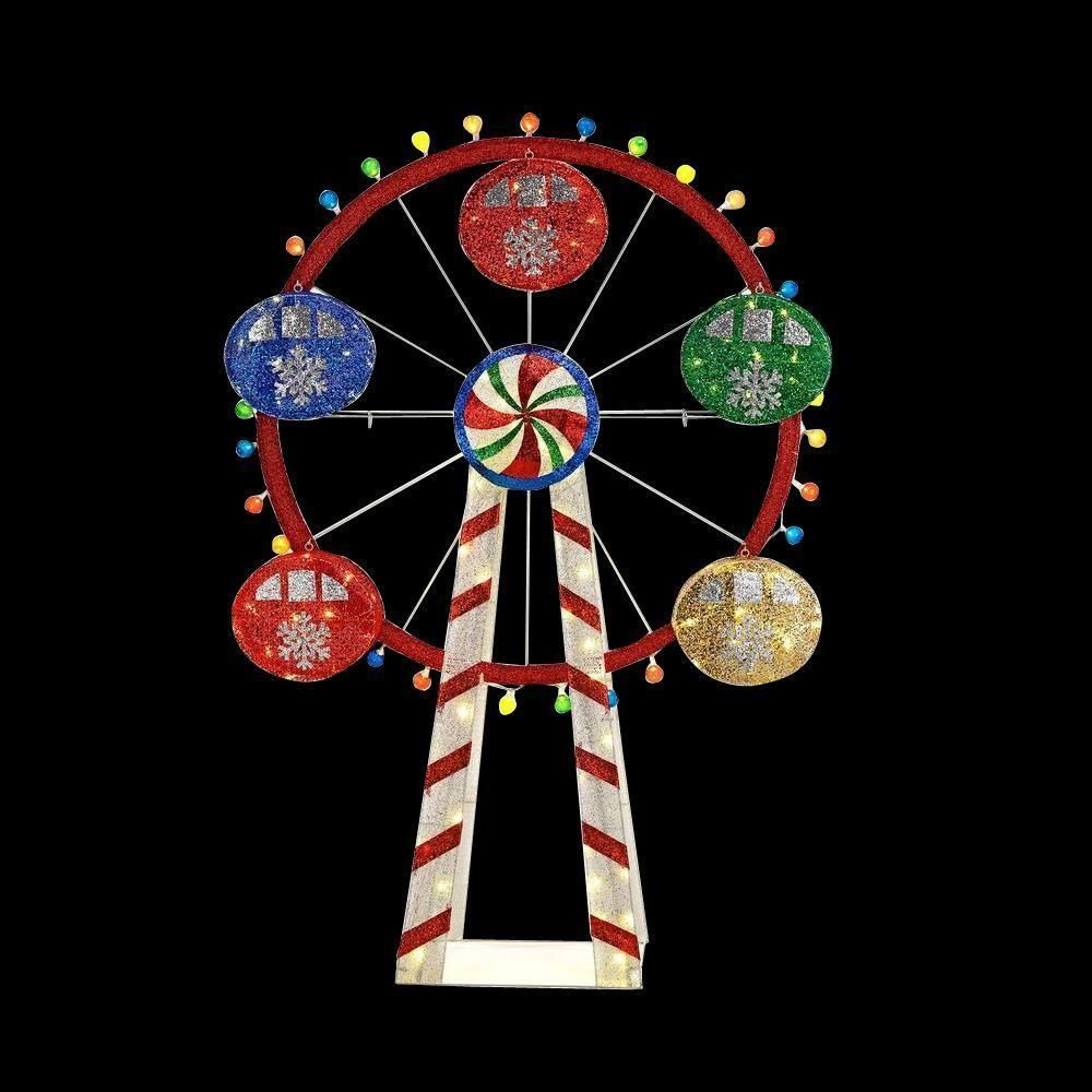Lighted Christmas Led Ferris Wheel 72 Inches Tall Yard Decor Candy String Mesh Homeaccents