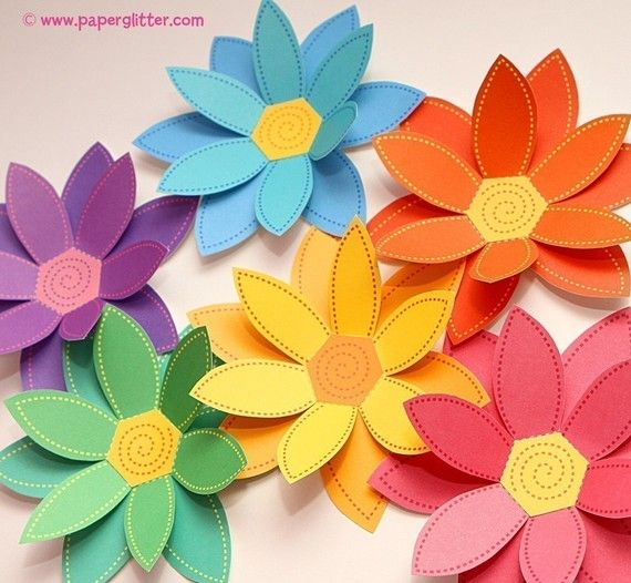 Paper Flowers Rainbow Paper Craft Set 2 Sizes Printable Pdf