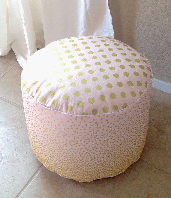 Pink And Gold Pouf Floor Pouf Nursery Pouf Ottoman By SandHcreate Enchanting Gold Pouf Nursery