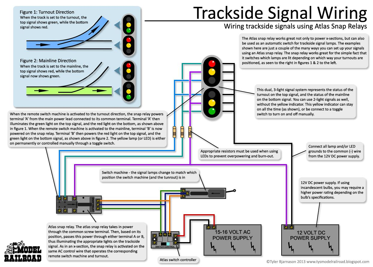 How To Wire Trackside Signals Using An Atlas Snap Relay And Led Two Switches One Light Diagram View Lamps Show Turnout Positions