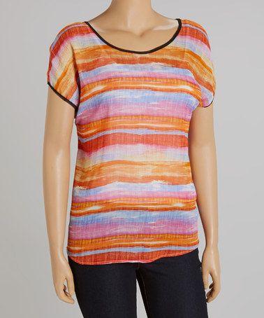Love this Orange & Blue Stripe Short-Sleeve Top - Plus on #zulily! #zulilyfinds