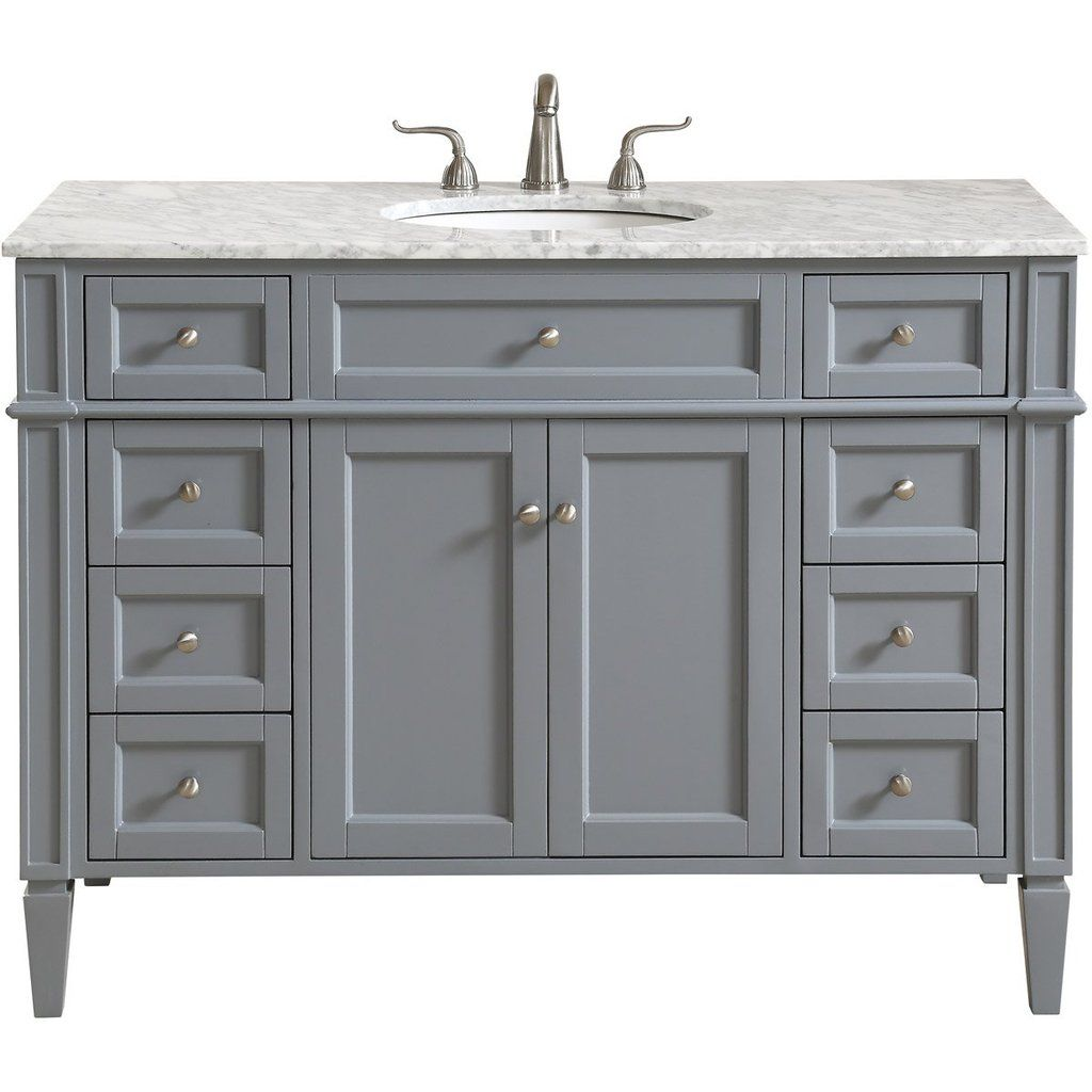 Park Avenue 48 X 35 8 Drawer 2 Door Vanity Cabinet Grey Finish Vf12548gr Single Bathroom Vanity Marble Vanity Tops Elegant Decor