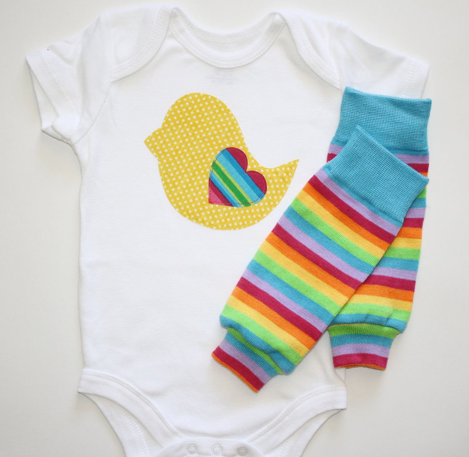 6f976d825033 Yellow and White Polka Dot Baby Chick Rainbow Heart Applique
