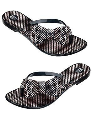 e19cc86c5d2105 Black plastic flip flop with allover pink mini polka dot print and adorable  bow detail on