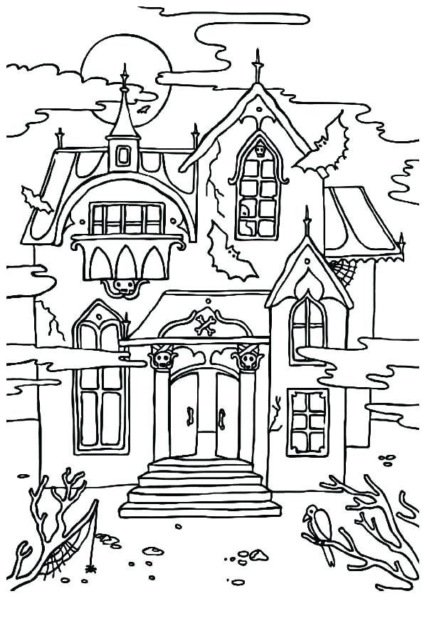 Spooky House Coloring Pages Printable Haunted House Coloring Pages