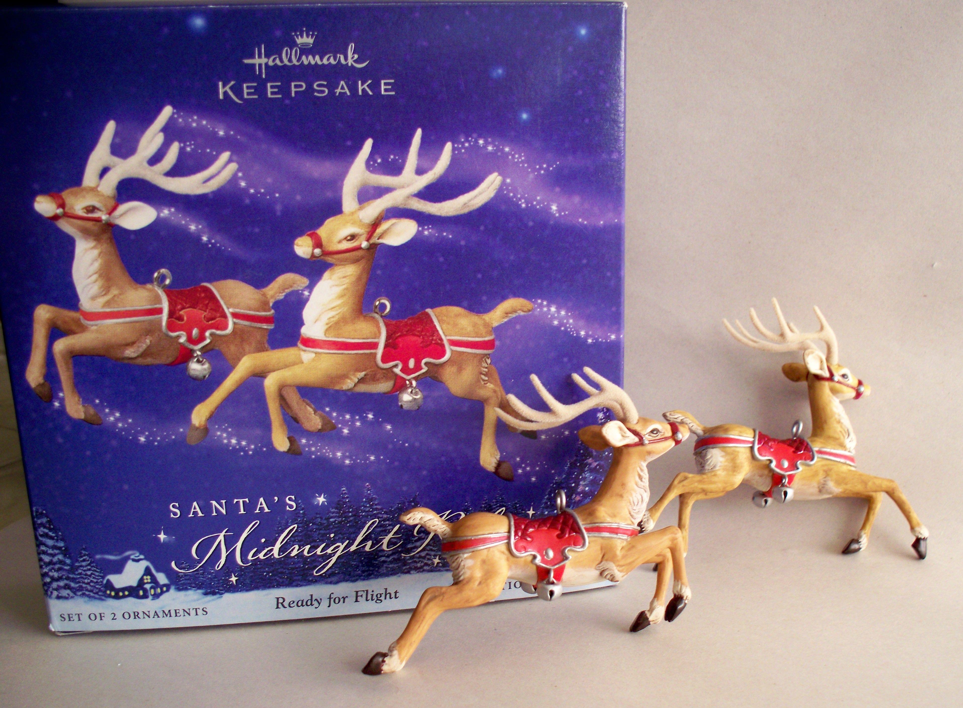 NIB Hallmark Ornament Santa/'s Midnight Ride Ready for Flight 2 Reindeer Red