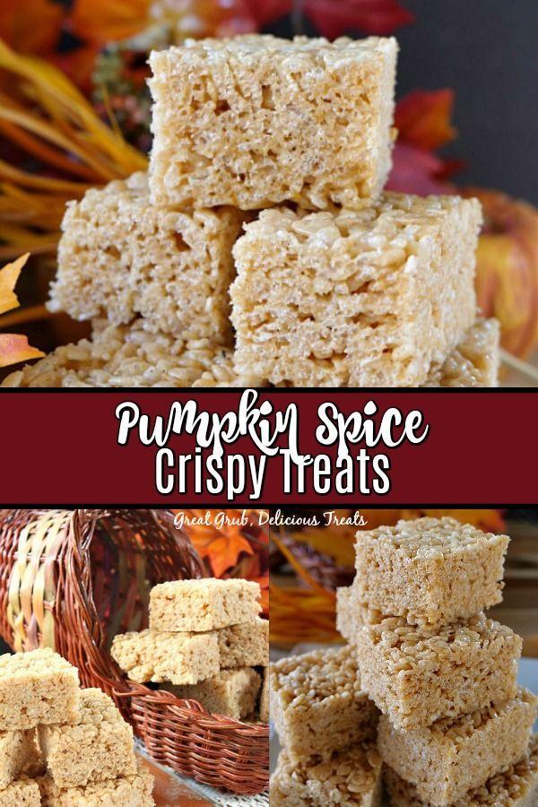 Pumpkin Spice Crispy Treats are super delicious made with pumpkin puree for a delicious fall treat. #pumpkinspicerecipes #pumpkinrecipes #sweets #dessertfoodrecipes #greatgrubdelicioustreats #crispytreats