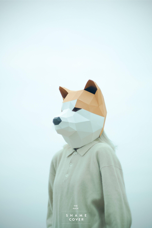 Akita Inu Dog Maskdiy Animal Headpdfpaper Mask3d Polygon Masks