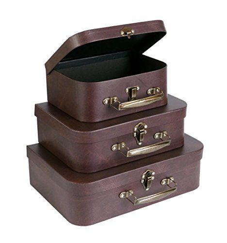 Slpr Paperboard Suitcases Set Of 3 Brown Leather Box Https Www Amazon Com Dp B01n3afmjc Ref Cm Sw R Pi Dp U Leather Box Suitcase Set Rustic Card Box
