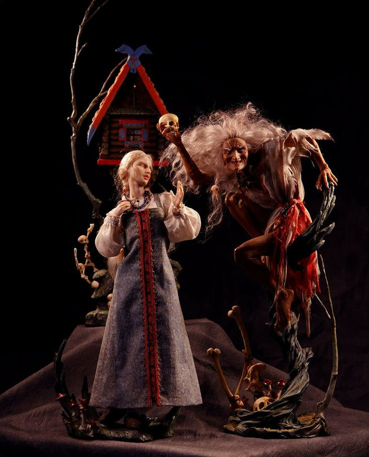 Baba Yaga and Vasilisa, with Hut. Dolls in Kato Polyclay - Forest Rogers