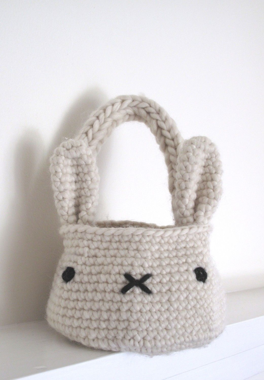 bunny basket bag crochet pattern | eastern | Pinterest | Trapillo ...