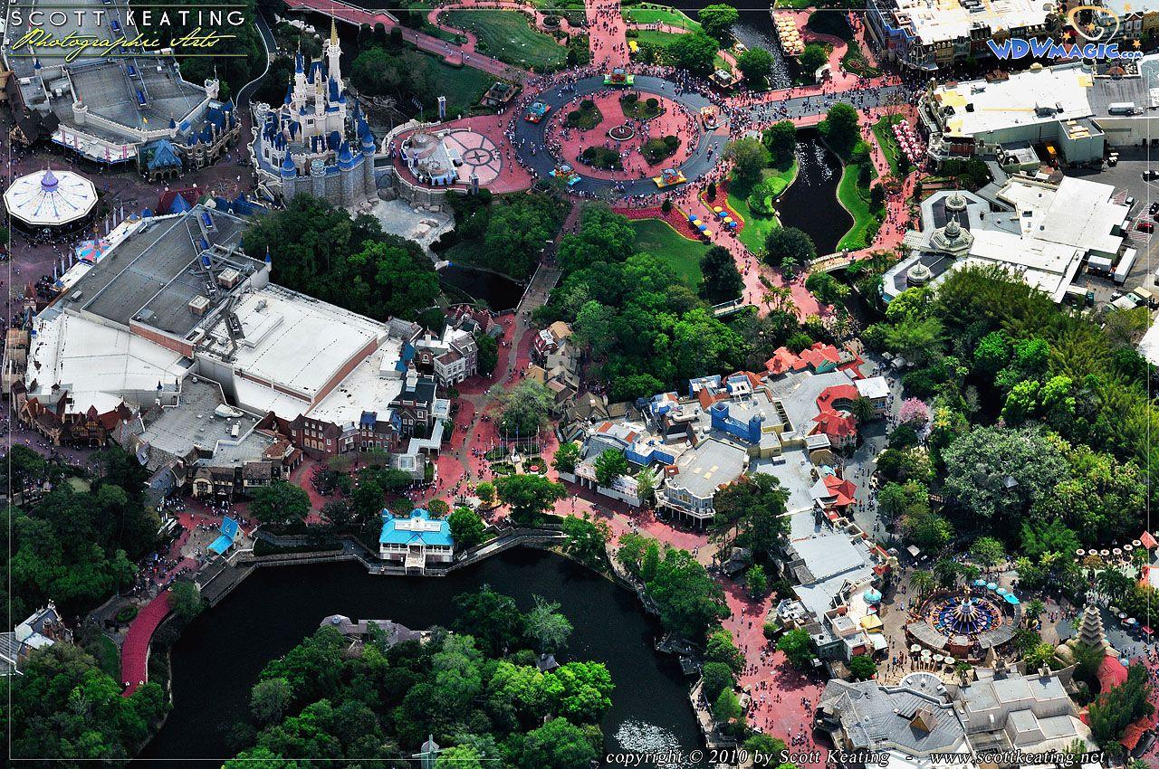 Walt Disney World Magic Kingdom Aerial Photograph Of