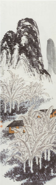 Farm houses, ink painting by                                 Qi Baishi (1864-1957)
