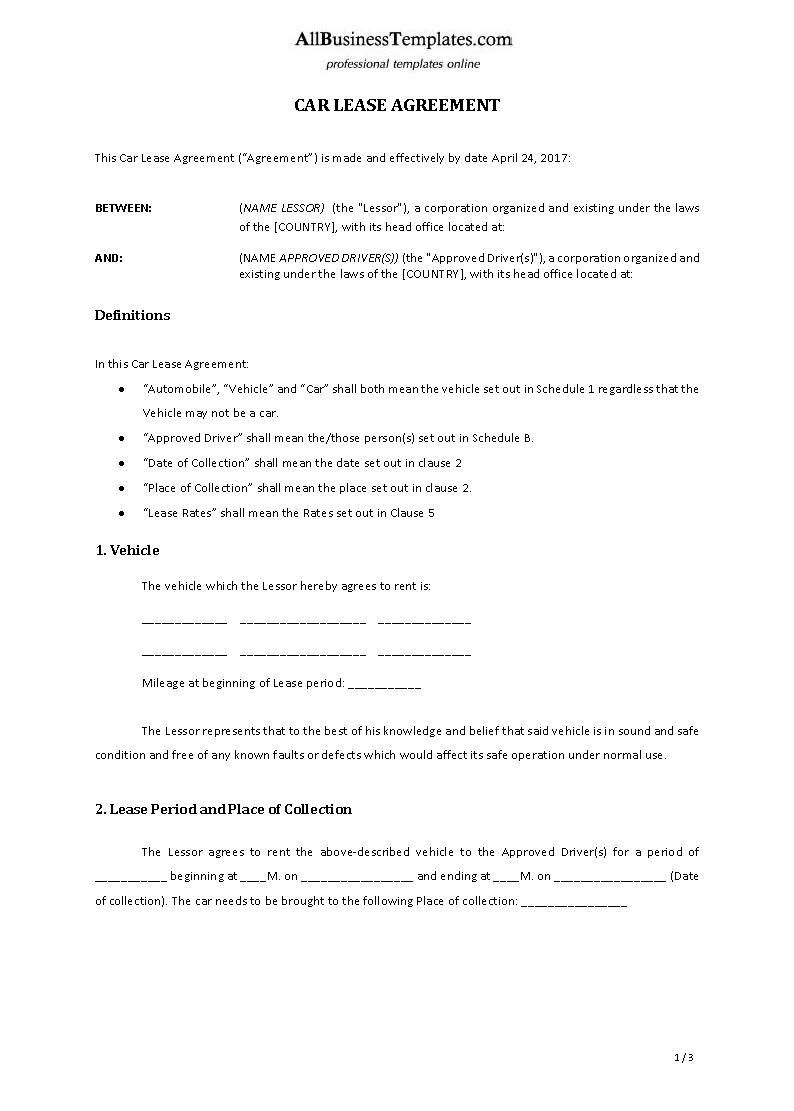 Car Lease Agreement Download This Car Lease Template And After