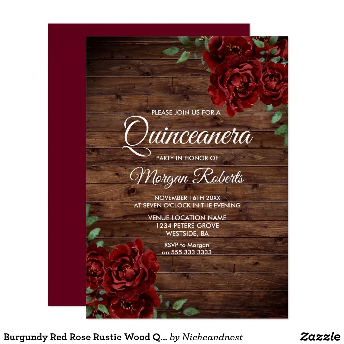 Burgundy Red Rose Rustic Wood Quinceanera Invite | Pinterest | Party ...