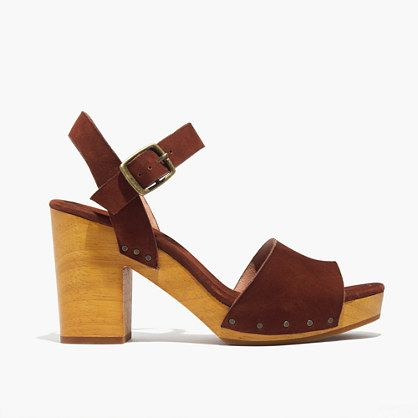 e8d4a5037bf2 Suede sandals with a decided  70s vibe—just check out the chunky wooden  heels