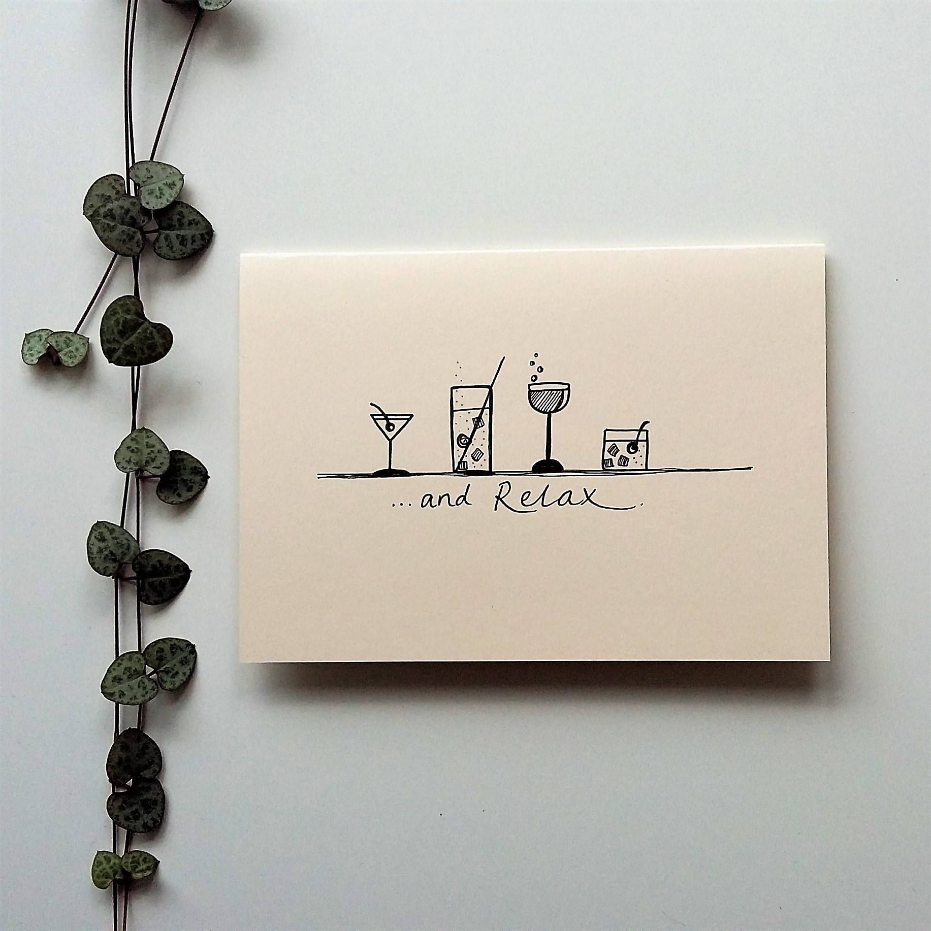 And relaxu a cocktail themed card handmade hand drawn cards by