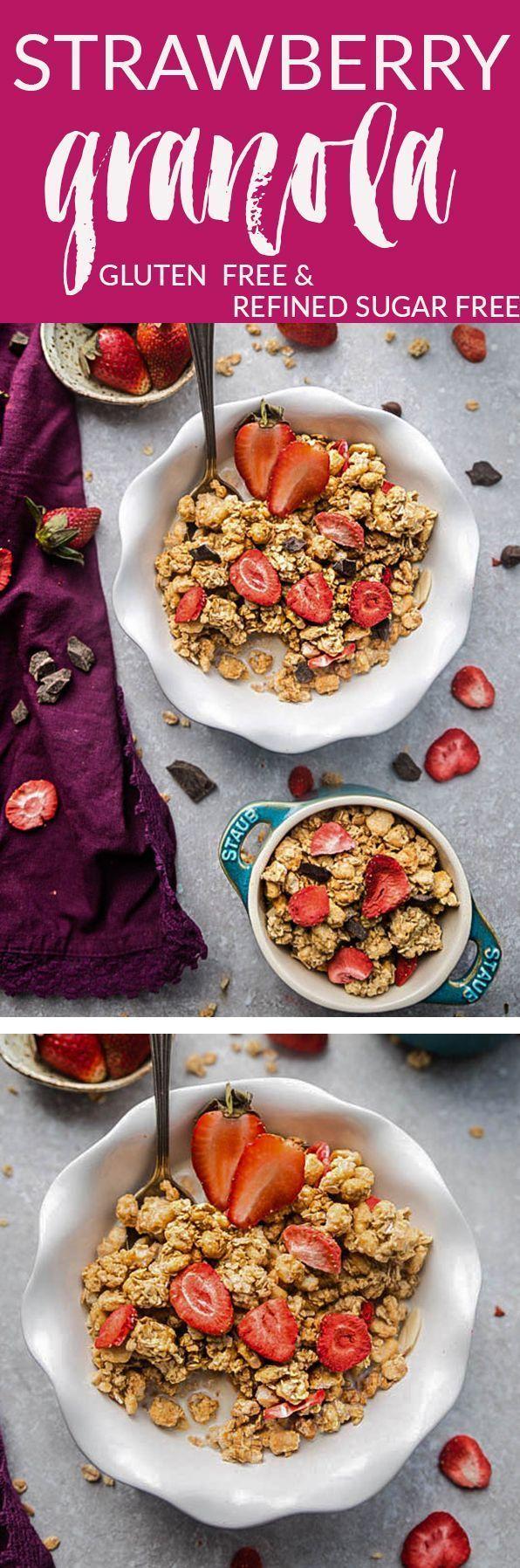 Strawberry Double Chocolate Granola ist das perfekte glutenfreie Frühstück oder ein Snack nach der Schule / vor oder nach dem Training. Geladen mit knusprigen Büscheln Kokosraspeln weißen und dunklen Schokoladenstückchen sowie gefriergetrockneten und frischen Erdbeeren. Das Beste von alle...