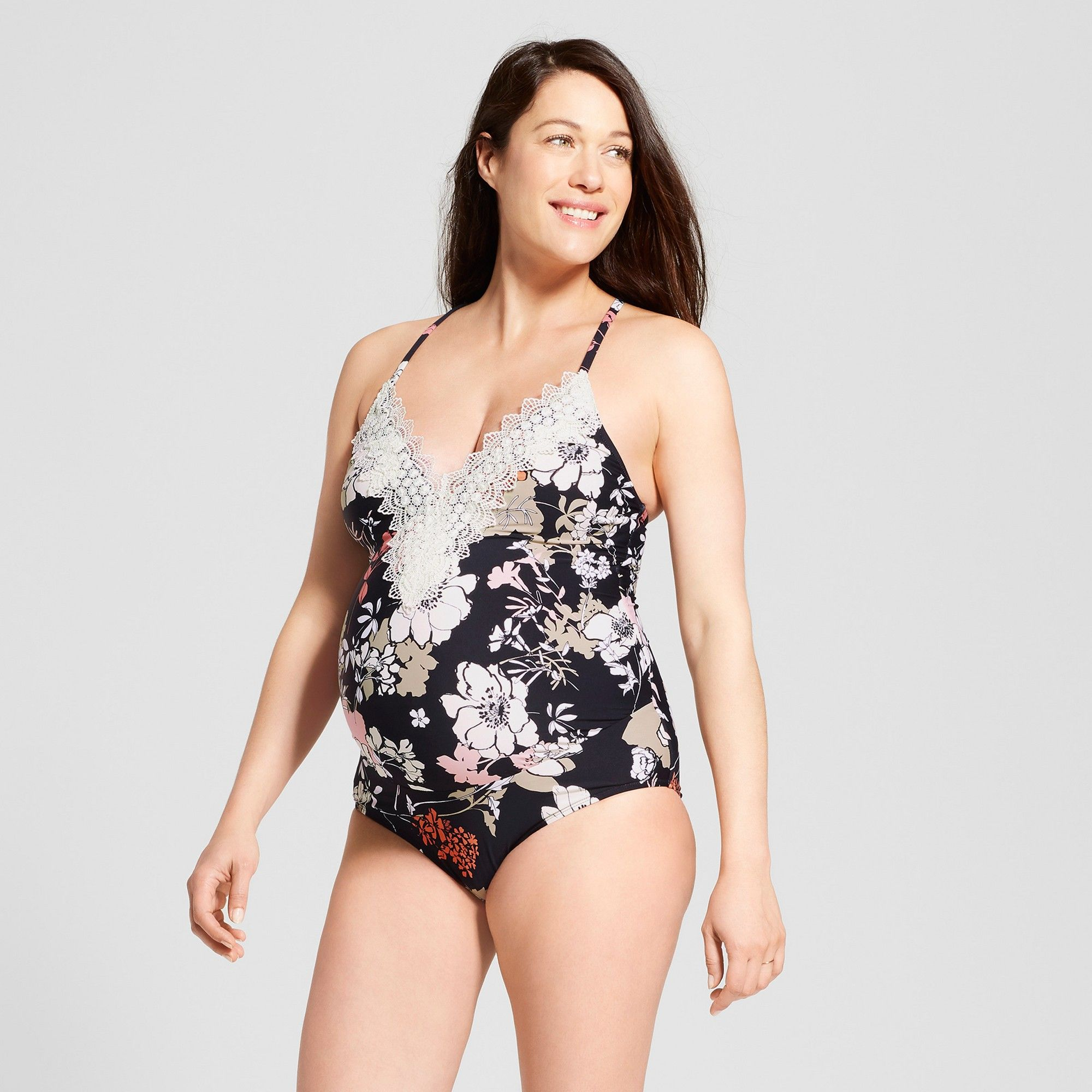 4decebc09c9b4 Maternity Floral Printed Lace Front One Piece Swimsuit - Sea Angel - Black S