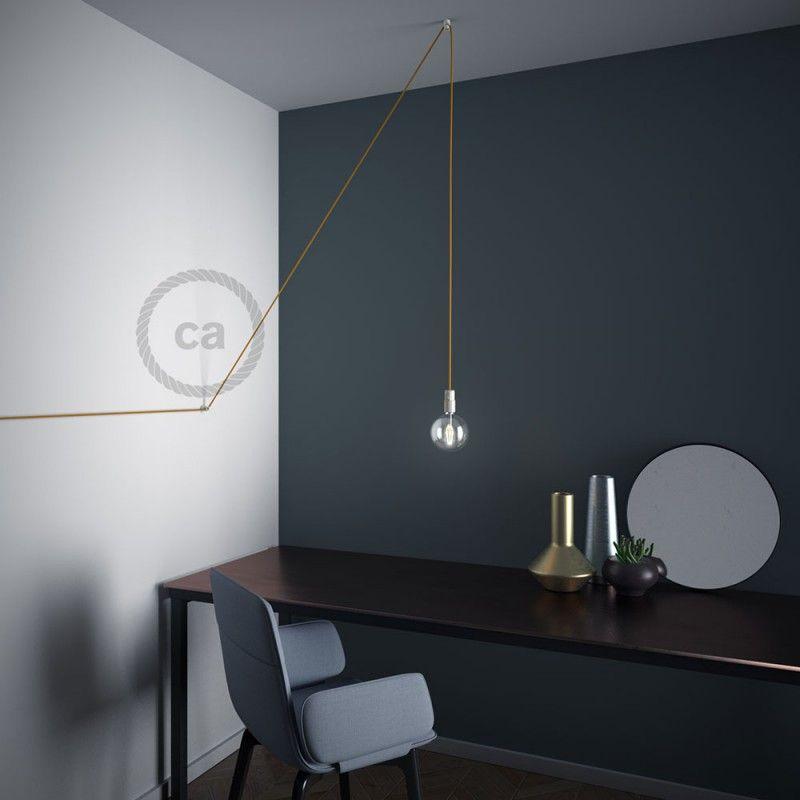 Wand- und Deckenpins u201cVu201c weiß für Textilkabel Wohnzimmer - moderne lampen für wohnzimmer