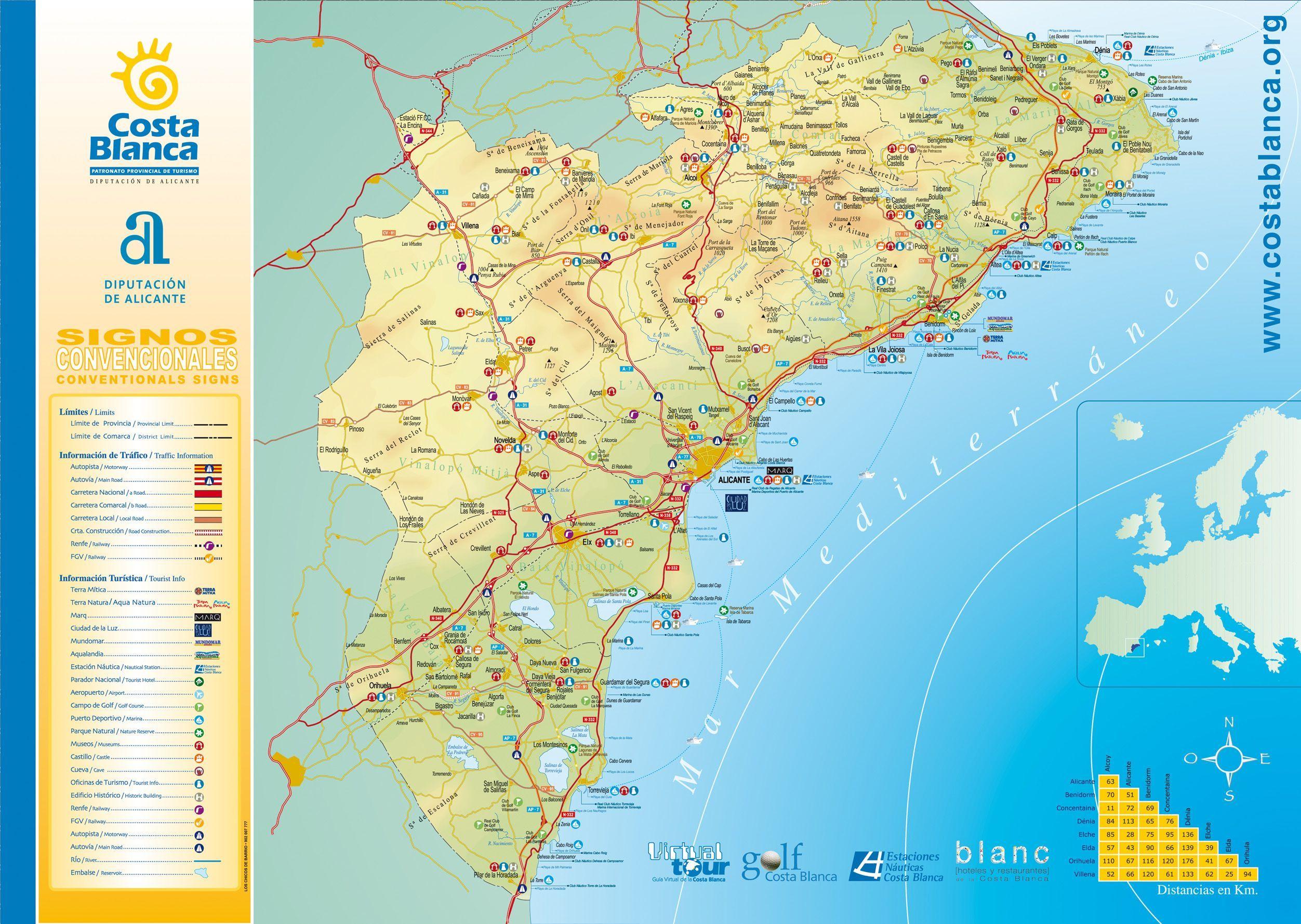 COSTABLANCAmapjpg 25041778 Albir Spain Pinterest Spain