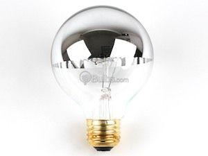 60 Watt 120 Volt G25 Half Mirror Globe Bulb Silver Light Bulb Globe Bulb Bulb