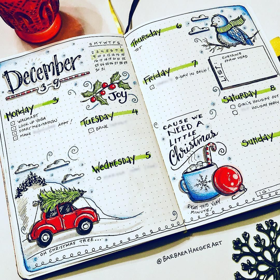 "Barbara Haeger on Instagram: ""First week of December and I already want the month to slow down! . . . . . . #bujo #bulletjournal #iloveprettynotes #ptbshareday…"""