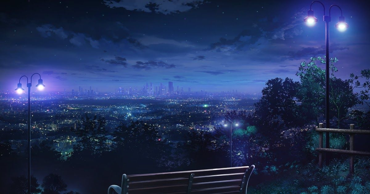 15 Anime Nighttime Wallpaper Brown Wooden Bench Night City Lights Cityscape Anime Hd Download Night Time In Tokyo Skyscrapers Architecture Background Dow