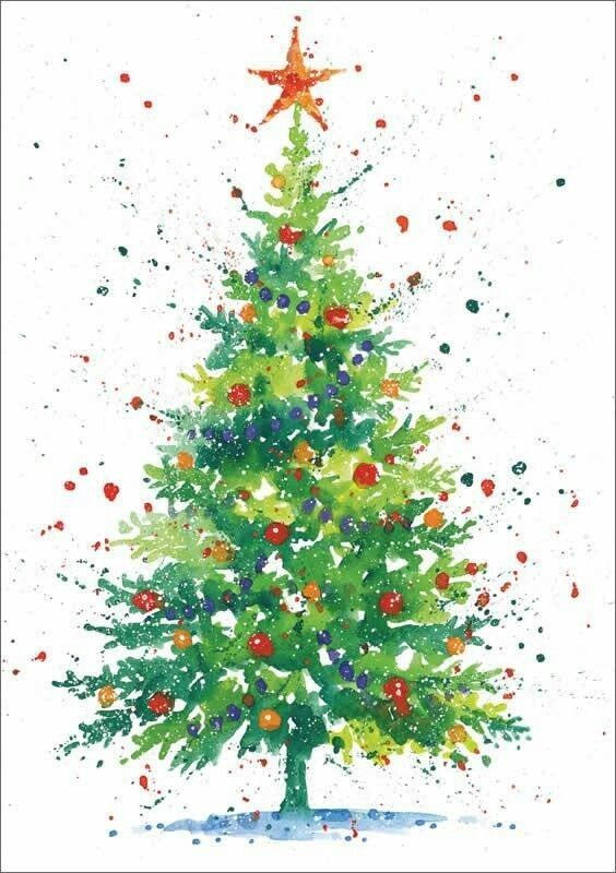 Pin By Judy Beasley On Art Watercolor Christmas Cards Christmas Tree Painting Christmas Tree Drawing