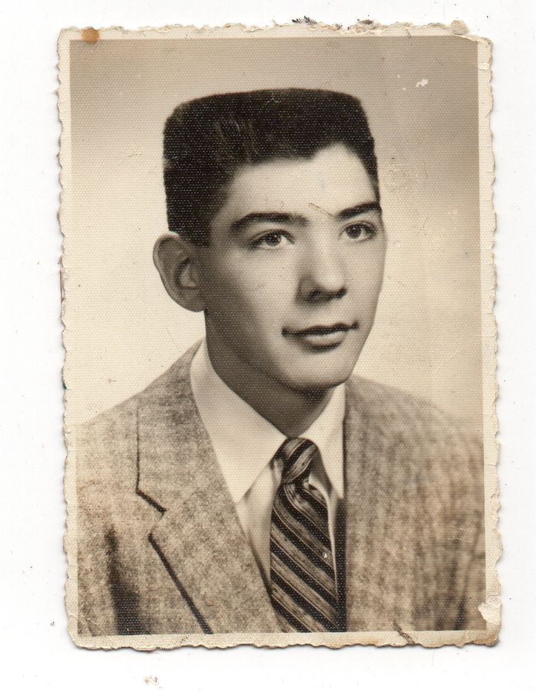 Vintage Photo Handsome Teen Boy Cool Flat Top Haircut Portrait