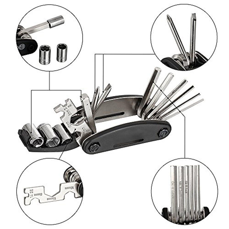 16 in 1 Bicycle Repair Tool Bike Pocket Multi Function Folding Tool Mechanic DIY