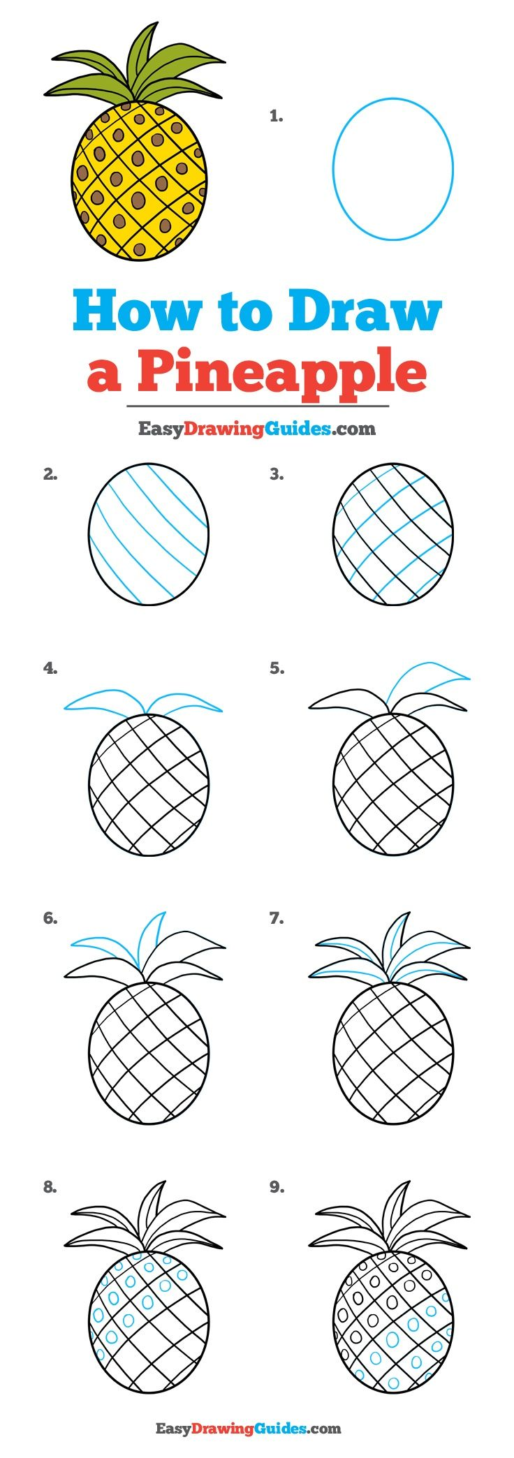 How To Draw A Pineapple Really Easy Drawing Tutorial Artsy