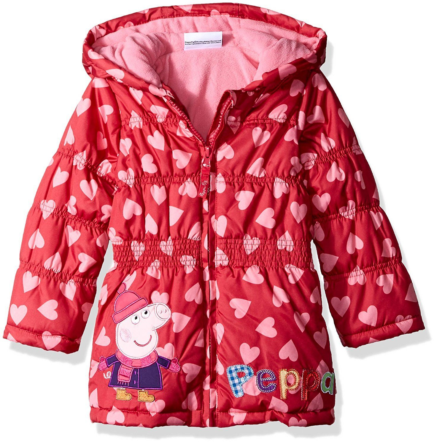 Peppa Pig Toddler Girls All Over Print Hearts Puffer Coat