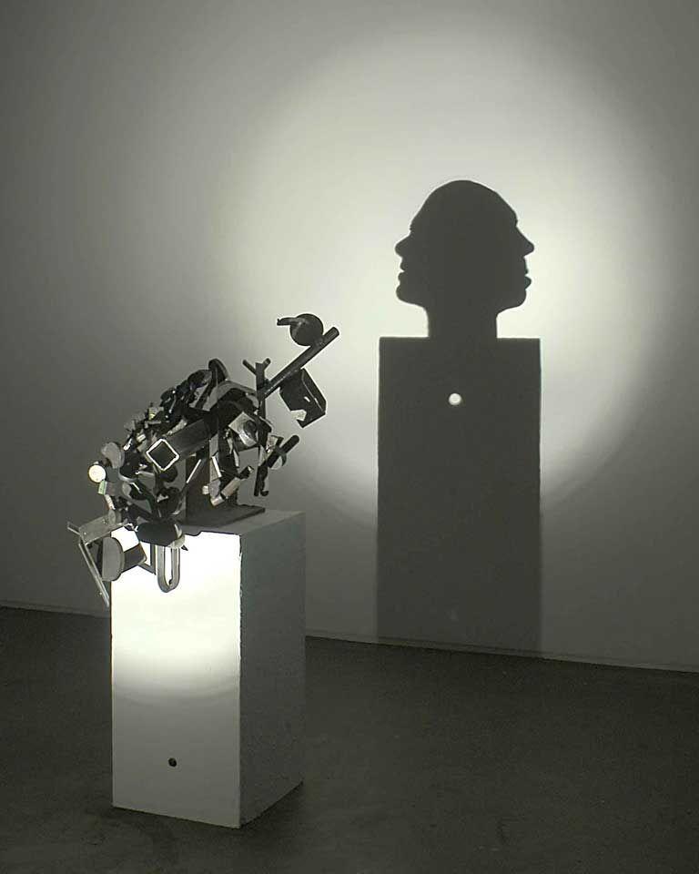 A Hole 2005 Welded Scrap Metal Wood Light Projector 85 X 30 5 X 60 Cm 331 2 X 12 X 231 2 In Plinth 30 5 X 30 5 X 61 Cm Shadow Art Light Art Shadow