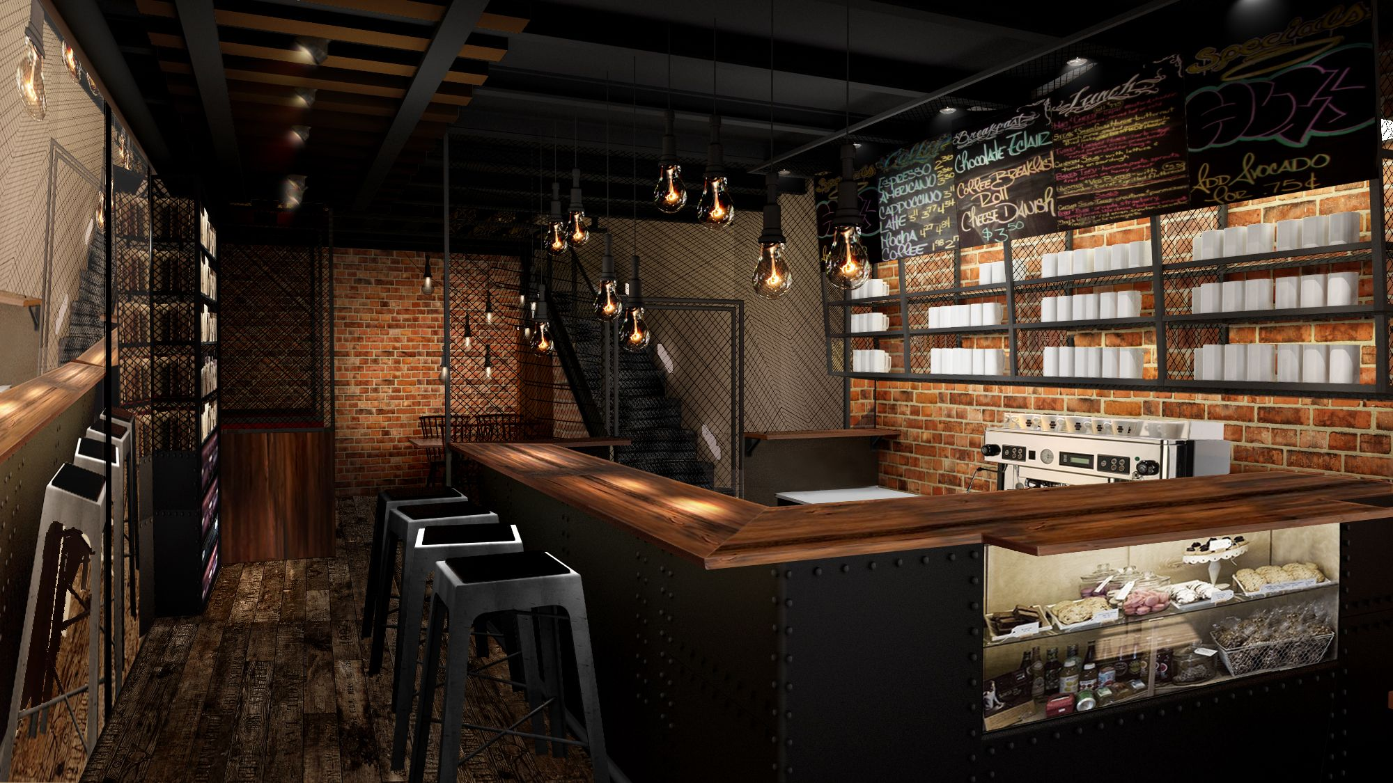 """OLD TRAIN STATION"""" coffee shop design first floor"""