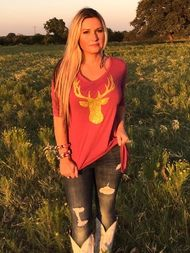 gold glitter deer maroon t-shirt tunic by ali dee collection