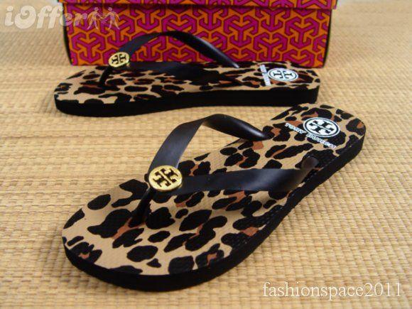 New 2011 ToryBurch Flip Flops Flat black Leopard Size 9