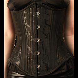 Textured Black Satin Underbust Corset