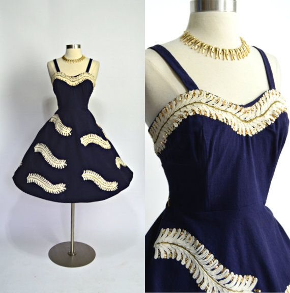 1950\'s Vintage Dark Blue White Gold Sequins Cotton Linen Mexican ...