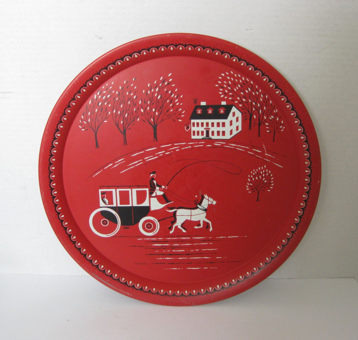 Vintage Colonial Red Round Metal Serving Tray by BehindTheWall on Etsy